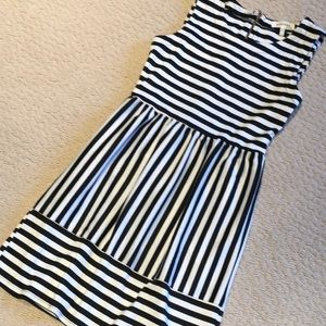 Black and white striped knit dress S